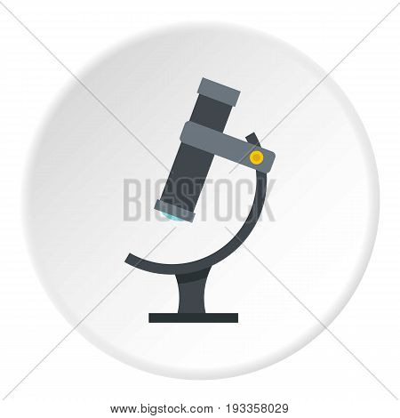 Nucleus and orbiting electrons icon in flat circle isolated on white vector illustration for web