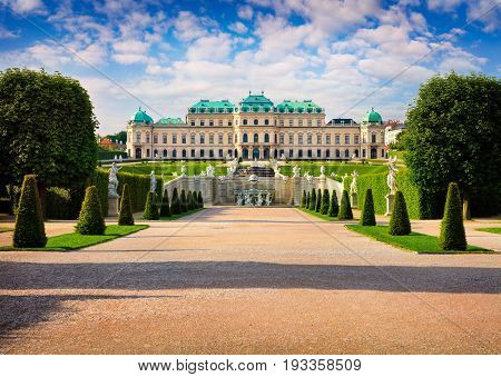 Colorful spring morning in famous Belvedere park built by Johann Lukas von Hildebrandt as a summer residence for Prince Eugene of Savoy. Sunny scene in Vienna Austria Europe. Artistic style post processed photo.
