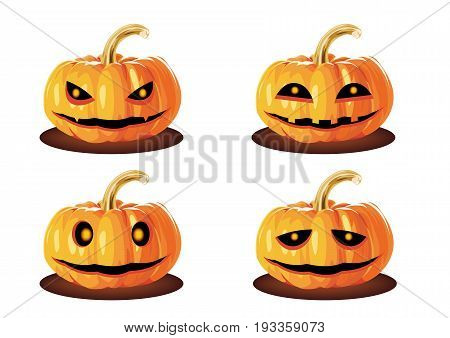 Pumpkins Head Halloween Many emotions Set of silhouette spooky horror images of pumpkins. Scary Jack-o-lantern facial expressions Illustration.