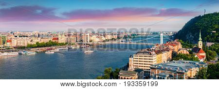 Panoramic Cityscape Of Pest City With Elisabeth Bridge On The Danube River.