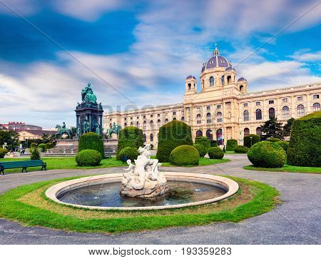 Splendid Norning Landscape In Maria Theresa Square With Famous Naturhistorisches Museum (natural His