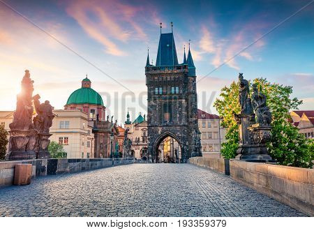 Sunny Spring Scene On Charles Bridge On Vltava River (karluv Most) With Statues And Saint Francis Of