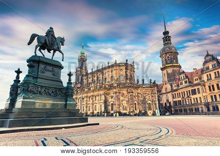 Colorful Spring Scene In Center Of The Dresden - Old Town