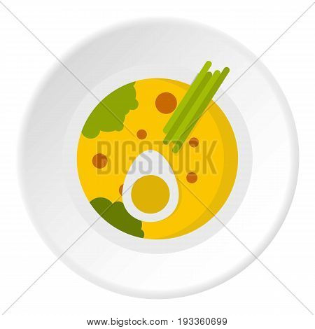 Miso soup icon in flat circle isolated on white background vector illustration for web