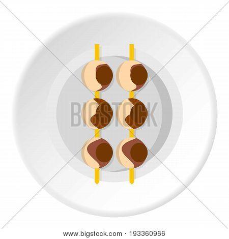 Asian shashlik icon in flat circle isolated on white background vector illustration for web