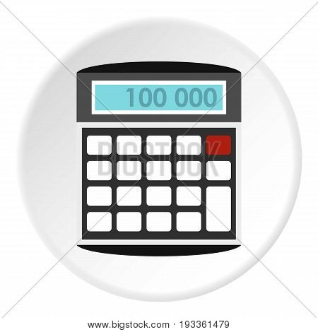 Calculator icon in flat circle isolated on white background vector illustration for web