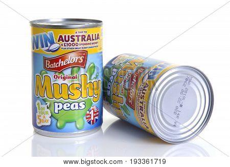 SWINDON UK - JUNE 11 2017: Two Tins of Batchelors Original Mushy Peas on a white background