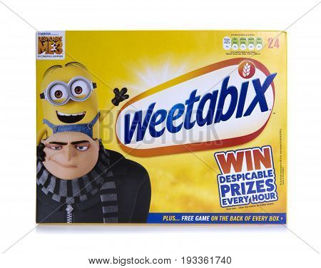 SWINDON UK - JUNE 11 2017: 24 pack of Weetabix Weetabix is a whole grain wheat breakfast cereal produced by Weetabix Limited