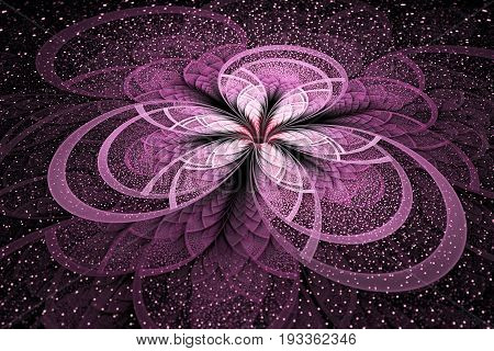 Abstract Exotic Pink Flower With Shining Sparks On Black Background. Fantastic Fractal Design. Psych