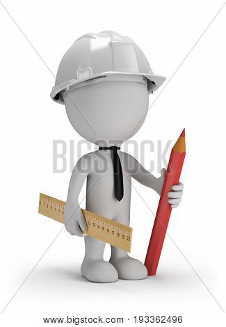3d man with a pencil with a ruler in a helmet. 3d image. White background.
