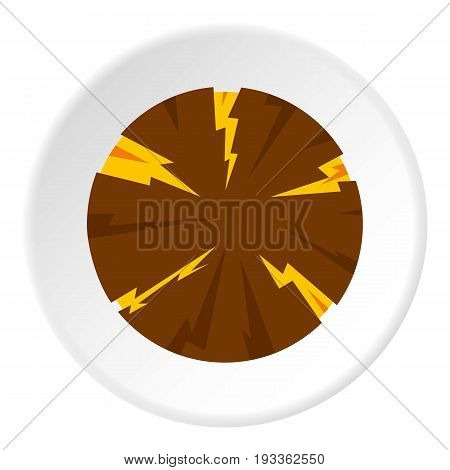 Dangerous planet icon in flat circle isolated on white background vector illustration for web