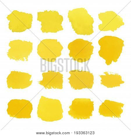 Vector Set of yellow watercolor blots hand painted texture elements isolated on white. Abstract collection of brush splash, strokes, stains, spots, blots.