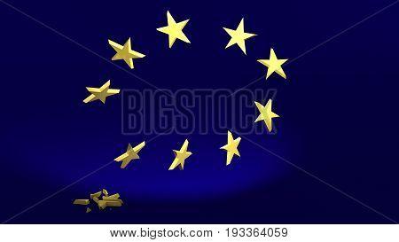 3D Illustration; falling Star symbolize the Brexit