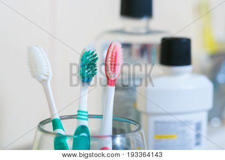 Tooth brush on clean toilet room. Concept dental.