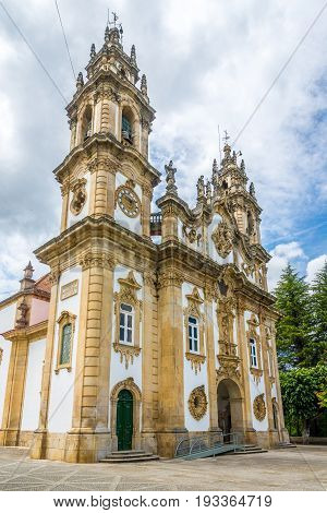 LAMEGO,PORTUGAL - MAY 15,2017 - View at the Sanctuary of Our Lady of Remedios in Lamego. Sanctuary of Our Lady of Remedios was built in 1750.