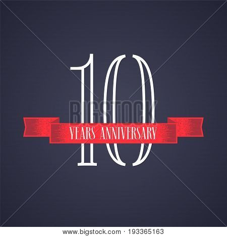 10 years anniversary vector icon logo. Graphic design element with red ribbon and number for 10th anniversary celebration
