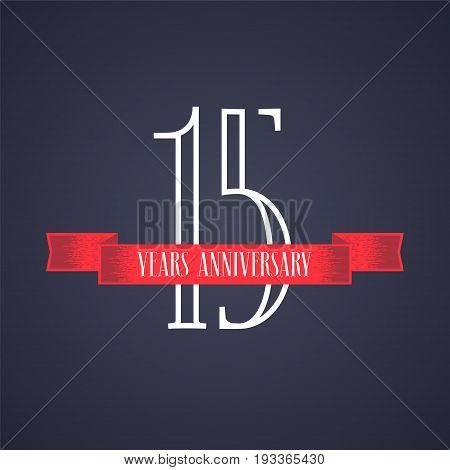 15 years anniversary vector icon logo. Graphic design element with red ribbon and number for 15th anniversary celebration