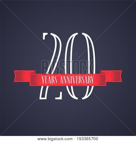 20 years anniversary vector icon logo. Graphic design element with red ribbon and number for 20th anniversary celebration