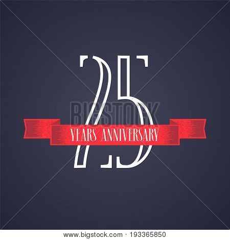 25 years anniversary vector icon logo. Graphic design element with red ribbon and number for 25th anniversary celebration