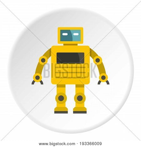 Yellow humanoid robot icon in flat circle isolated on white background vector illustration for web