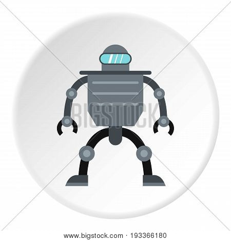 Cyborg robot icon in flat circle isolated on white background vector illustration for web