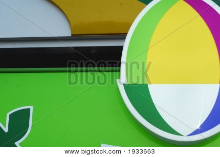 Part of a coloured sign
