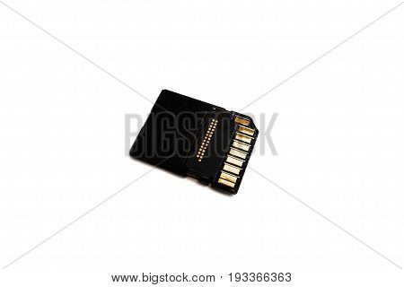 Working SD card on white isolated background. Computer devices for camera and camcorders for recording, transfer and storage of information.
