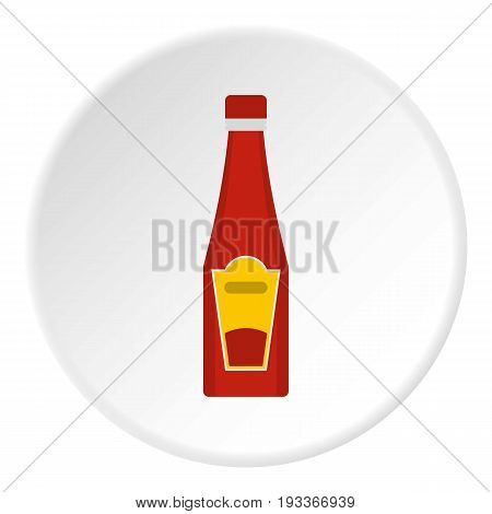 Traditional tomato ketchup bottle icon in flat circle isolated on white background vector illustration for web