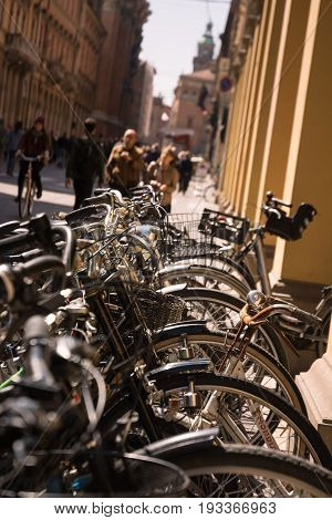 Bicycles parked in the center of Bologna