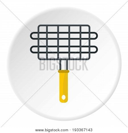 Steel grid for grill icon in flat circle isolated on white background vector illustration for web
