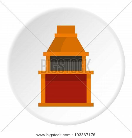 Barbecue gas grill icon in flat circle isolated on white background vector illustration for web