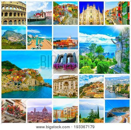 The collage from photos of Italy, Europe