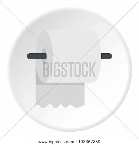White roll of toilet paper on a holder icon in flat circle isolated on white background vector illustration for web