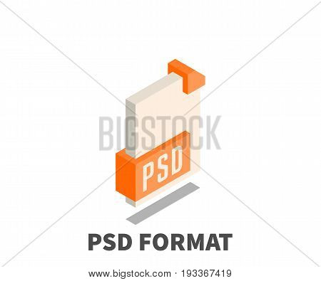 Image file format PSD icon vector symbol in isometric 3D style isolated on white background.