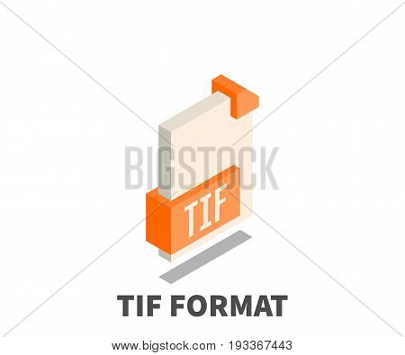 Image file format TIF icon vector symbol in isometric 3D style isolated on white background.
