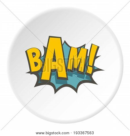 BAM, comic book explosion icon in flat circle isolated on white background vector illustration for web