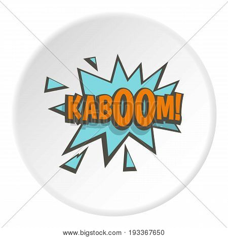 Kaboom, comic text sound effect icon in flat circle isolated on white background vector illustration for web