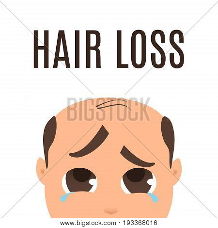 Man suffering from hair loss. Alopecia treatment and transplantation concept. Can be used by clinics and diagnostic centers. Isolated vector illustration.