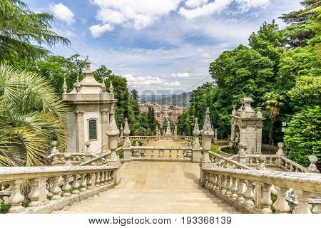 View at the stairway to Sanctuary of Our Lady of Remedios in Lamego - Portugal