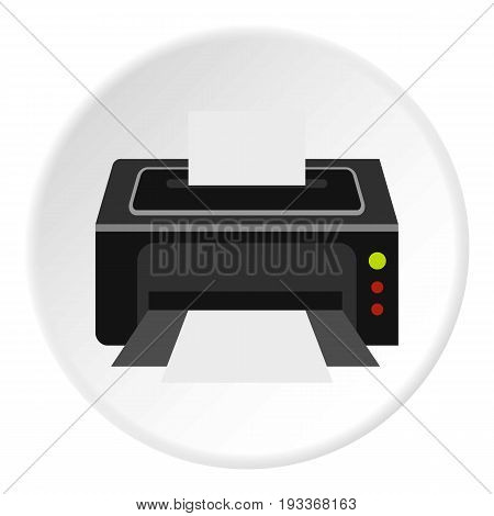 Printer icon in flat circle isolated on white background vector illustration for web