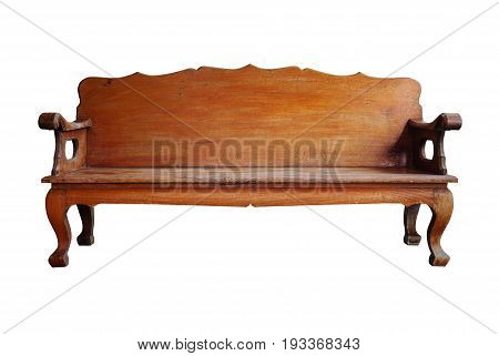 Brown wooden bench isolated on white background