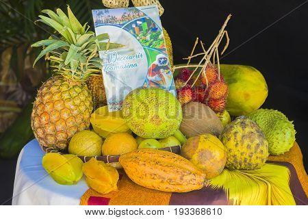 Antananarivo, Madagascar - June 16, 2017 :Exhibition of fresh fruits from different regions of Madagascar
