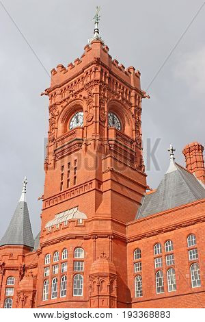 clock tower of the Pierhead building in Cardiff Bay