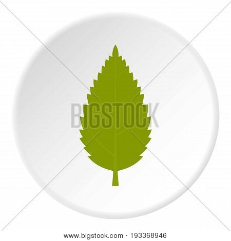 Green hornbeam leaf icon in flat circle isolated on white background vector illustration for web