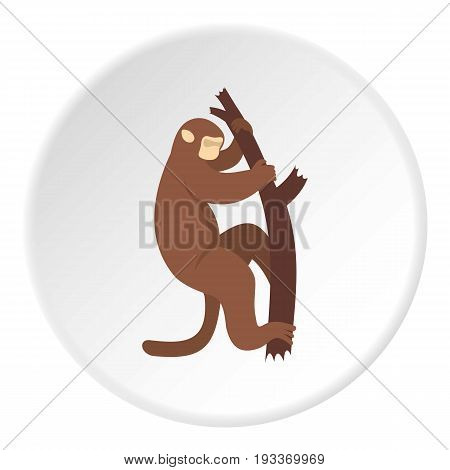 Macaque is climbing up on a tree icon in flat circle isolated on white background vector illustration for web