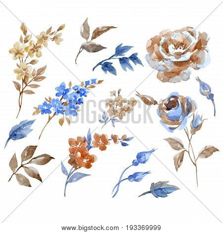 Beautiful vector set with watercolor hand drawn abstract flowers on tranparent background