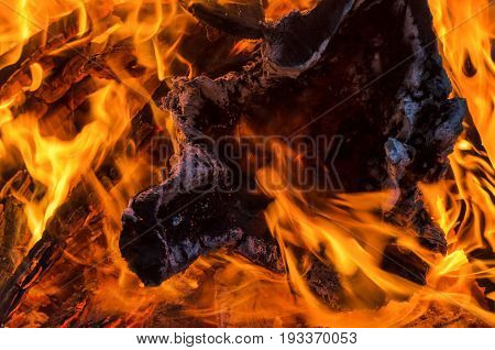 FIRE - Fireplace out of stacked wood