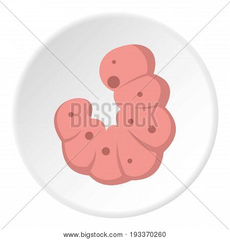 Maggot worm icon in flat circle isolated on white background vector illustration for web