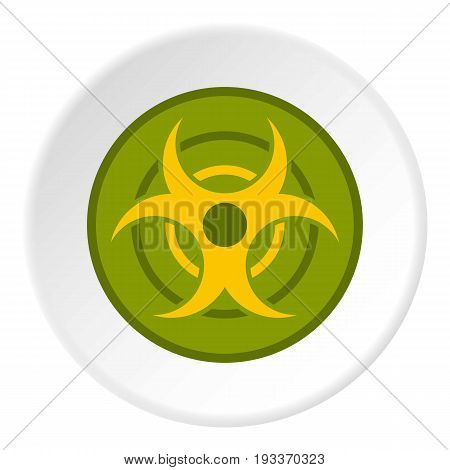 Biohazard symbol icon in flat circle isolated on white background vector illustration for web
