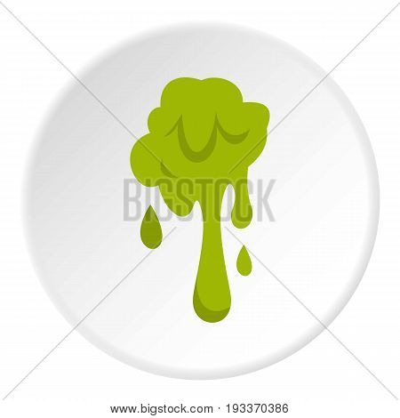 Green slime spot icon in flat circle isolated on white background vector illustration for web